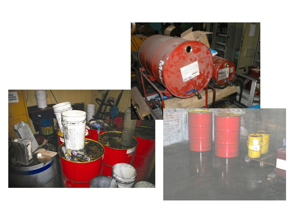 Dirty environment needs spill control, absorbents, safety storage