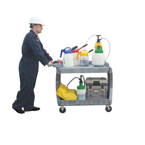 LubeCart lubricators lubricant trolly, oil cart with Oil Safe, Grease Safe & absorbents