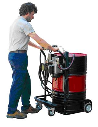 Trolley for 200 l lubricant drum with electrical pump, alternatively with pneumatic pumps.