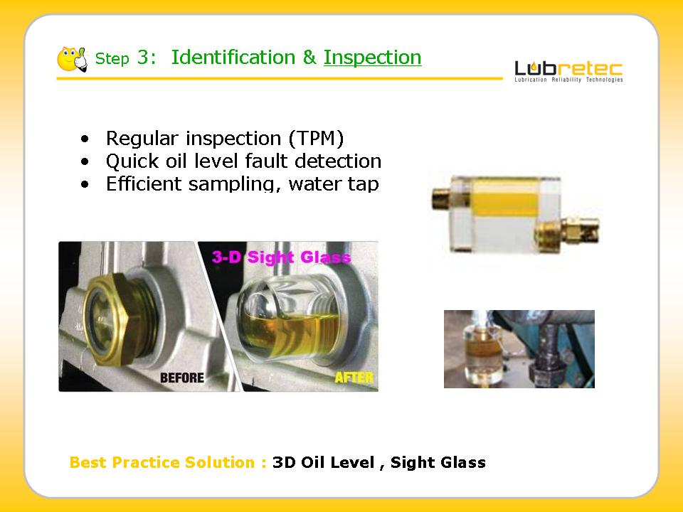 Lubrication Reliability, inspection, identification, Control, monitoring Oil Sight glass, Oil Level