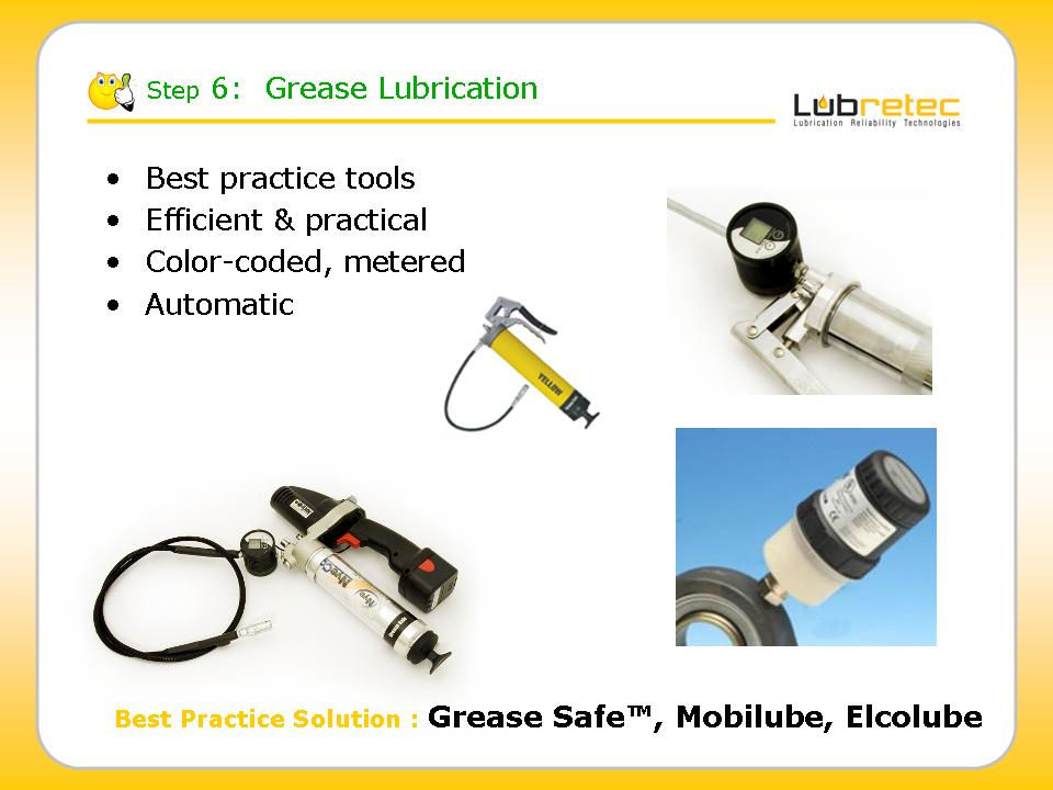 Lubrication Reliability : grease application tools like Grease Safe color coded grease guns, Elcolube grease meter, Mobilube electrical grease guns