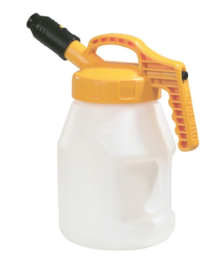 Oil Safe Stumpy spout lid combination with 5 litre drom