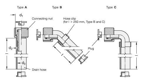 Oliemonstername ventiel met aftapslang en verschillende connectors.